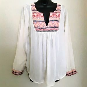 NWT Lucky Brand Embroiderd Blouse,  Detailed